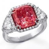8.04 Cts Fancy Vivid Pink Radiant Cut Halo Diamond Engagement Ring  set in Platinum