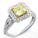 1.70 Cts Fancy Yellow Radiant Cut Diamond Engagement Ring set in 18K White Gold