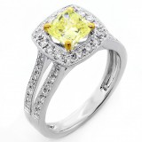 1.79 Cts Fancy Yellow Cushion cut Diamond Engagement Ring set in 18K White Gold