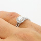 0.76 Cts Round Cut Diamond Engagement Ring set in 18K White Gold