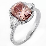 2.89 Cts Cushion Intense pink Diamond Engagement Ring set in Platinum