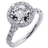 2.01 Cts Round Cut Halo Diamond Engagement Ring set in 18K White Gold