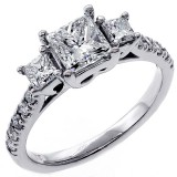 1.92 Cts Three Stone Princess Cut Diamond Engagement Ring set in 18K White Gold