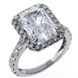 6.92 Cts Radiant Cut Diamond engagement Ring set in 18K White Gold