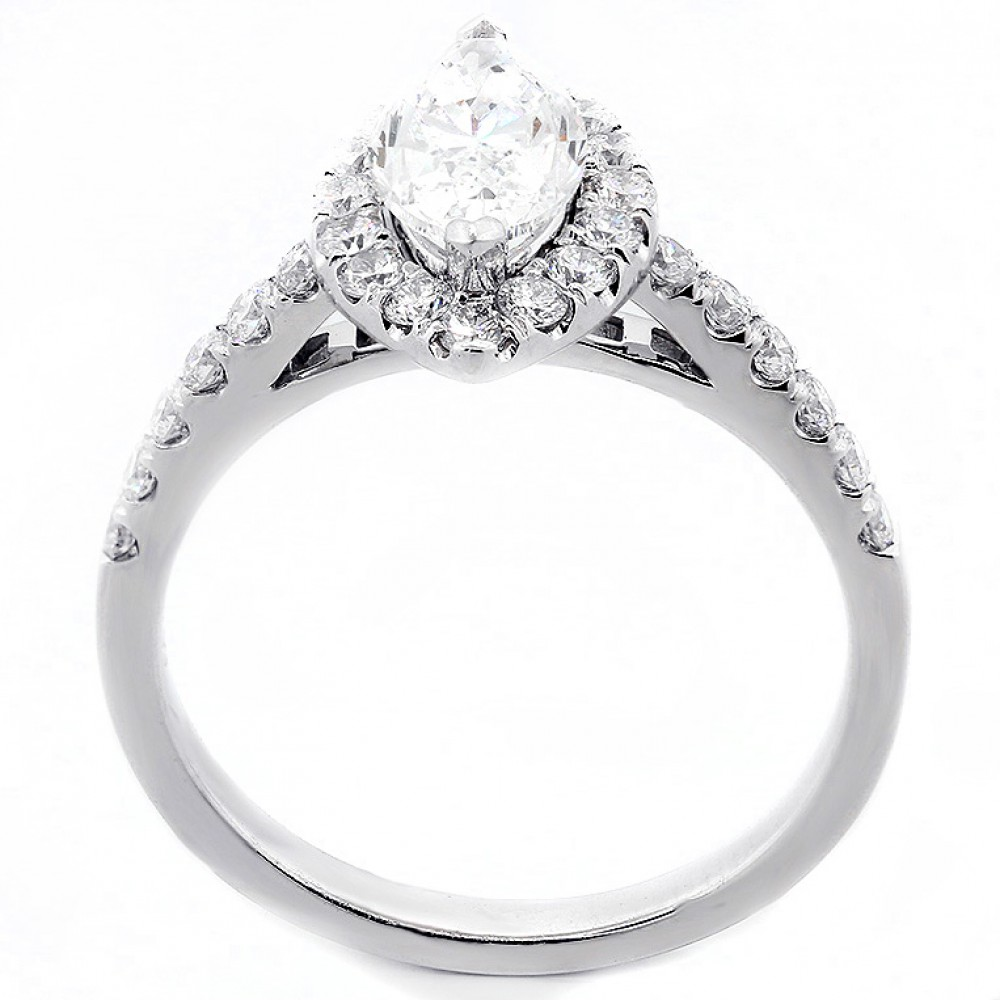 100CT MARQUEE CUT DIAMOND ENGAGEMENT RING SET IN 18K WHITE GOLD