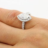 1.00CT MARQUEE CUT DIAMOND ENGAGEMENT RING SET IN 18K WHITE GOLD