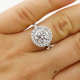 2.92 CTS ROUND CUT DIAMOND HALO ENGAGEMENT RING SET IN PLATINUM