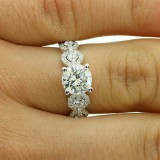 2.43 CTS RIUND CUT DIAMOND ENGAGEMENT RING SET IN 18 K WHITE GOLD