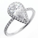 2.51Cts Pear shape diamond engagement ring set in 18K white gold