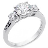 2.32 Cts Three stone round cut diamond engagement ring set in 14 K white gold