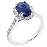 2.50 cts oval sapphire diamond engagement ring set in 14K white gold