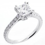 2.22 Cts Princess cut diamond engagement ring set in 18K white gold