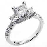 2.45 Cts three stone Princess Cut Diamond Engagement Ring Set in 18K W