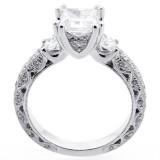 Three Stone Princess cut Diamond Engagement Ring Set in 18K White Gold