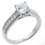 1.72 Cts Princess Cut Diamond Engagement Ring set in 18K White gold