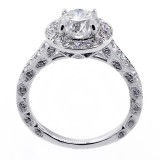 1.52 Cts Round Cut Diamond Engagement Ring set in 18K W Vintage Setting with Halo