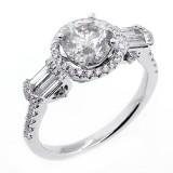 THREE Stone Diamond Engagement Ring set in 18K White Gold