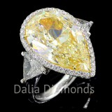 11.57 Cts Pear Shape Fancy Yellow Diamond Engagement Ring set in 18K White Gold