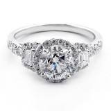 2.40 Cts three stone diamond engagement ring set in 18K white gold