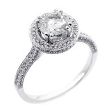 1.74 CTS ROUND CUT DIAMOND HALO ENGAGEMENT RING SET IN 18K WHITE GOLD