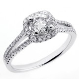 1.07 CTS ROUND CUT DIAMOND HALO ENGAGEMENT RING SET IN 18K WHITE GOLD