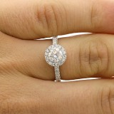 1.24 CTS EGL ROUND CUT  DIAMOND HALO ENGAGEMENT RING SET IN 18K WHITE GOLD