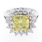 6.27 CTS CUSHION FANCY YELLOW DIAMOND ENGAGEMENT RING SET IN 18K WHITE GOLD