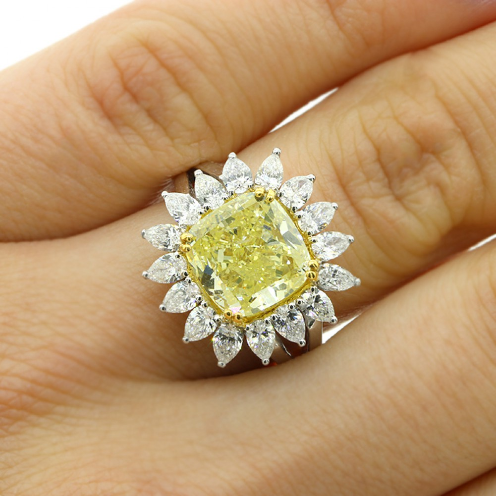 6 27 cts cushion fancy yellow diamond engagement ring set in 18k