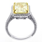 5.02 CTS RADIANT CUT FANCY YELLOW DIAMOND ENGAGEMENT RING SET IN 18 K WHITE GOLD