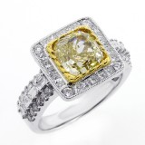 3.37 CTS FANCY YELLOW CUSHION CUT DIAMOND ENGAGEMENT RING SET IN 18K WHITE GOLD