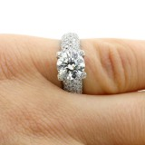 4.02 CTS ROUND CUT DIAMOND ENGAGEMENT RING SET IN 14K WHITE GOLD