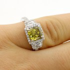 2.05 CTS CUSHION CUT DIAMOND ENGAGEMENT RING SET IN 18K WHITE GOLD