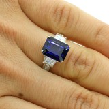 5.46 CTS JADORE EMERALD CUT ENGAGEMENT RING SET IN PLATINUM
