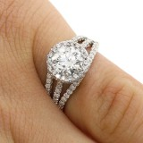 2.15 CTS ROUND CUT DIAMOND HALO ENGAGEMENT RING SET IN 18K WHITE GOLD
