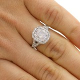 4.01 CTS CUSHION CUT DIAMOND ENGAGEMENT RING WITH HALO SET IN PLATINUM