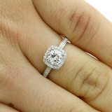 1.22Cts ROUND CUT DIAMOND HALO ENGAGEMENT RING SET IN 14K WHITE GOLD