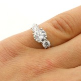 1.97 CTS  3 STONE ROUND CUT DIAMOND ENGAGEMENT RIG SRT IN 14K WHITE GOLD