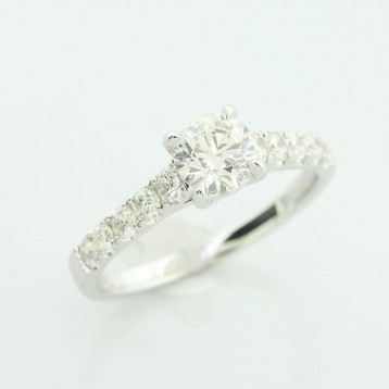 1.24 Ctw Four-Prong Round Cut Diamond Engagement Ring Set in 18K White Gold