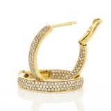 0.68 Cts. 14K Yellow Gold Inside Out Diamond Hoop Earrings