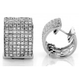 1.05Ct tw Wide Diamond Hoop Eearrings