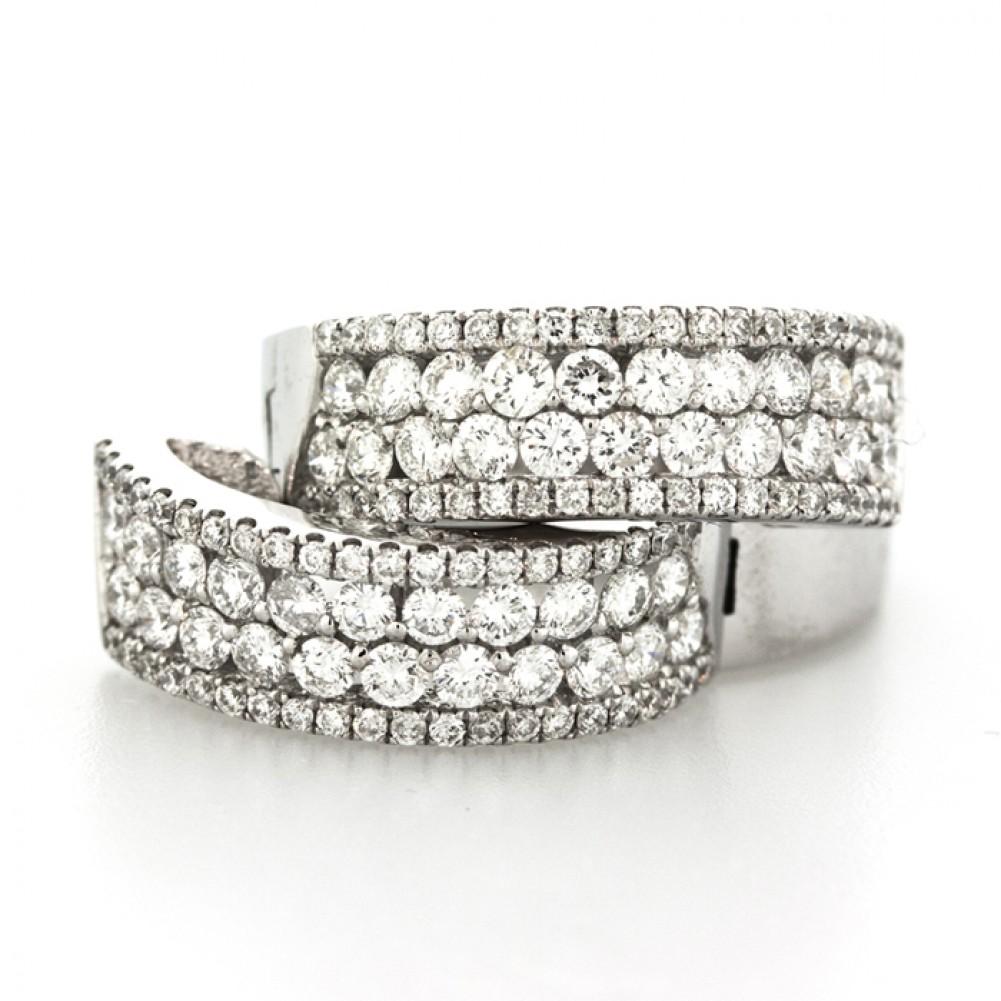150 Cts 14k White Gold Small Diamond Hoop Earrings