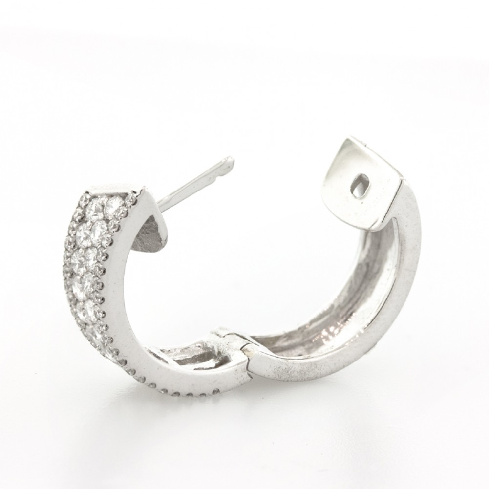 150 Cts 14k White Gold Small Diamond Hoop Earrings