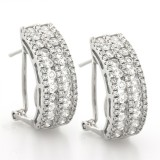 1.56 Cts. 14K White Gold Small Diamond Hoop Earrings