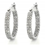 2 Row Pave Inside Out Diamond Hoops Earrings