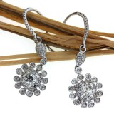 1.92Cts Diamond Floral Drop Earrings 14Kt White gold