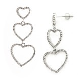 1.12 Cts. 14K White Gold Diamond Heart Dangling Earrings