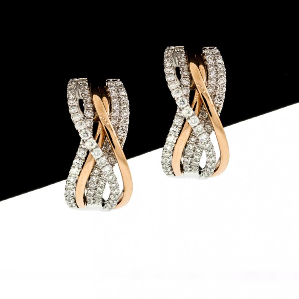 170 Cts 18k White Gold Criss Cross Rose Gold Diamond Hoop Earrings