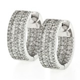 1.43 Cts. 18K White Gold Inside Out Diamond Hoop Earrings