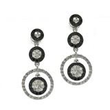 Black & White Diamonds Floating Circle Earrings