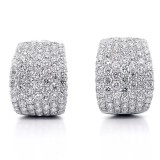 7.43ctw Round Cut Diamond Hoop Pave Earrings 18K White Gold